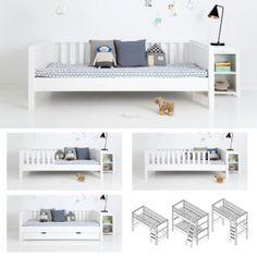   Sanders Einzelbett / Kinderbett FANNY, 90x160cm, Höhe: 70cm, schneeweiß   Kindermöbel Onlineshop