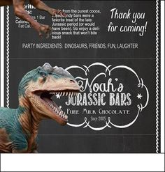 Dinosaur Party Candy Bar Wrappers  print at by MelindaBryantPhoto, $5.35 chalkboard, printable party favors, ideas