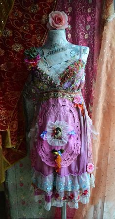 Romantic bohemian art to wear dress fairy gypsy fae one-of-a-kind dress reworked dress altered couture dress
