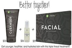Get this amazing trio for a beautiful, bright, younger looking complexion. Cleanser, exfoliating peel, and facial applicator.  www.pabodywraps.myitworks.com #exfoliatingpeel #itworks #glowingskin