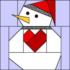 quilting Free patterns: Snowman 1 and 2 - These cheerful little guys are the creation of Carol Doak and were meant for cards or ornaments. But their small stature (finished size square quilt block), makes them perfect for using on… Paper Pieced Quilt Patterns, Christmas Quilt Patterns, Barn Quilt Patterns, Barn Quilt Designs, Pattern Blocks, Pattern Paper, Quilting Designs, Quilting Projects, Christmas Quilting