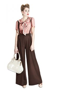 Collectif Clothing - 40s Glenda Swing Trousers Heringbone Brown