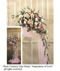 Use a matching color on a church candelabra. For more drama, wrap around the bottom of the flowers and allow to cascade down to the floor, spilling out in a puddle on the floor.