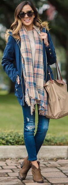 fall fashion tartan scarf blue jacket