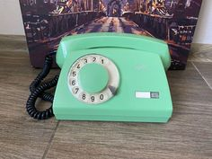 Vintage light green phone 1985s, Green phone, Old rotary phone, Circle dial rotary phone, Vintage landline phone, Old Dial Desk Phone, Phone Retro Phone, Vintage Phones, Home Phone, Electronic Items, Cutlery Set, Vintage Lighting, Rotary, Landline Phone, Desk