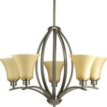 """View the Progress Lighting P4490 Traditional / Classic 5 Light 24"""" Wide Up Lighting Chandelier with Fluted Etched Glass Shade from the Joy Collection at LightingDirect.com."""