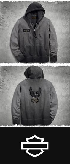 Looks like a forgotten, faded sweatshirt. In other words, it's perfect. | Harley-Davidson Men's Felt Applique Slim Fit Hoodie