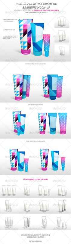 This is a really neat design for a product mockup. The design is very appealing and I can see it on a high end cosmetic bottle. The colors work really well together, especially the bright pink and blue which will appear to the specific audience that is buying the cosmetics.