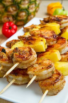 Grilled Jerk Shrimp and Pineapple Skewers. recipes chicken pineapple Grilled Jerk Shrimp and Pineapple Skewers Skewer Recipes, Fish Recipes, Seafood Recipes, Dinner Recipes, Cooking Recipes, Healthy Recipes, Grilling Recipes, Healthy Grilling, Skewer Appetizers