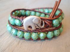 """Bohemian leather wrap bracelet - green turquoise, silver, """"Rustic Baby Elephant"""" distressed brown leather, good luck charm, lucky boho chic. $72.00, via Etsy."""