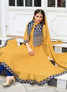 Yellow designer chiffon anarkali suit with jacket