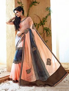 Give A Modern Twist To Your Ethnic Look By Wearing This Peach, Grey Saree With Grey Blouse Which You Can Order At Just Rs. 2,588 From http://goo.gl/3qPqF7