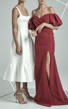 Cora Frill Hem Dress and Amalia Off The Shoulder Gown by Rachel Gilbert Fall Winter 2018
