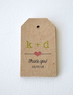 100 Kraft Brown Small Label Tags Custom by BugandBearDesign, $20.00