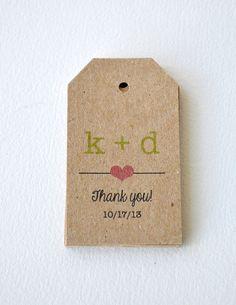 100 Kraft Brown Small Label Tags Custom by BugandBearDesign, $20.00