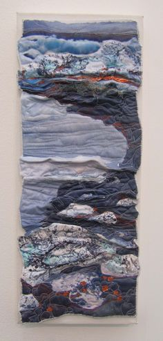 Textile Snippets: January 2013 sandra meech -Sandra Meech produced mixed media textiles inspired by the Arctic landscape and Inuit work. Textile Texture, Textile Fiber Art, Textile Artists, Fabric Art, Fabric Crafts, Organic Forms, A Level Textiles, Landscape Art Quilts, Landscapes