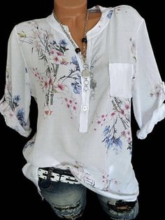 Floral V Neck Sleeves Button Up Casual Elegant Blouses - Blouses - veryvoga Cheap Womens Tops, Short Sleeve Blouse, Long Sleeve, Blouse Online, Blouse Styles, Printed Blouse, Types Of Sleeves, Blouses For Women, Clothes