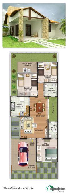 Projeto de casa com 3 dormitórios, sendo 1 suíte. Garagem, com 19,40 m² de área, com acesso lateral para a cozinha. Sala de estar e jantar conjugadas Telhado em telha de barro.