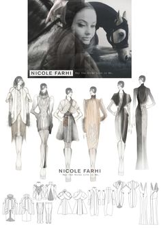 Fashion Portfolio - British Fashion Council womenswear project for Nicole Farhi - fashion design drawings; fashion illustration // Louise Ross
