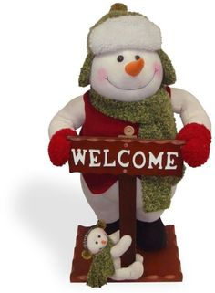"""National Tree PL27-NT005 26"""" Snowman with Welcome Sign"""