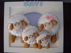 (MO 0199) Quadro família carneirinhos | PIPEeGUCA decoração infantil,móveis,enxoval,lembrancinhas nascimento,aniversário,quadros,pipe e guca...