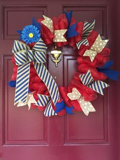 Mesh Wreath, Red, White & Blue