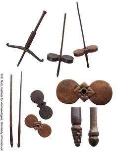 """Indonesia. Wooden spindles, Sasak People, Lombok Island, early to mid 20th century. 11.81"""" to 12.4""""."""
