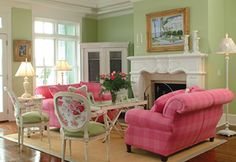 I just love the sofa and chairs! I'd love them even a lighterpink but do love the fresh look indeed