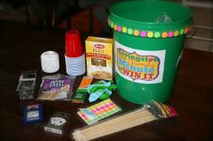 Minute to Win It bucket- has the supplies and directions for 15 games and all goes in the bucket to keep it together.