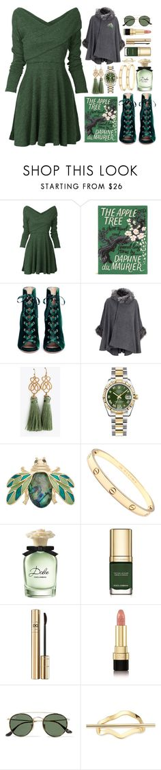 """The Apple Tree Book Clutch"" by pulseofthematter ❤ liked on Polyvore featuring Olympia Le-Tan, Gianvito Rossi, Rolex, Dana Buchman, Cartier, Dolce&Gabbana, Ray-Ban and Elizabeth and James"