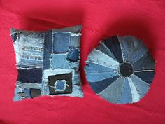 It was fun to make these crazy Hippy looking hobo pillows. I love how they turned out. They are made from recycled Denim scrapes left overs from making a picnic quilt. Hand made in my smoke free home. 2 15 pillows one square. and one round, both sides are pieced with Denim Super cute on a couch or bed.