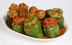 Stuffed Peppers with Ground Chicken (can also use ground beef or turkey)