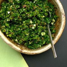 TSL Green Sauce - garlic, anchovies, capers, olive oil, parsley, other ...