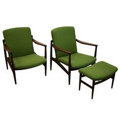 1stdibs | Rare Pair of Jacob Kjaer Lounge Chairs and Ottomam