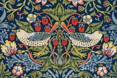 Strawberry Thief Furnishing Fabric, London, 1883. Artist::William Morris,  (designer) Morris & Co. (maker).                   Materials and Techniques: Indigo-discharged and block-printed cotton.