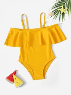 One-piece Flounce swimsuit for little girls Bathing Suits For Teens, Summer Bathing Suits, Cute Bathing Suits, Cute Swimsuits, Cute Bikinis, Girls Fashion Clothes, Teen Fashion Outfits, Cute Outfits For Kids, Cute Summer Outfits