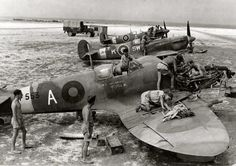 Spitfires Mk. Vc of No. 253 Squadron RAF undergoing service and repair in Southern Italy, likely Canne airfield, Summer 1944.