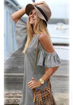 Grey Plain Short Sleeve Cotton Blend Shift Dress