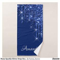 Name Sparkly Glitter Drips Rose Blue Navy VIP Bath Towel Glitter Home Decor, Artwork Design, Bath Towels, Vip, Print Design, Create Your Own, Vibrant, Navy, Rose