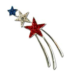 Patriotic Shooting Star Brooch/Pin - Make a wish! This pin features red white and blue crystals with a silver tail. This pin is approx 2""