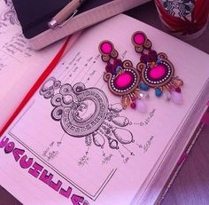 Adel's Laboratory: matita e carta soutache jewelry drawing Dainty Jewelry, Simple Jewelry, Cute Jewelry, Boho Jewelry, Handmade Jewelry, Driftwood Jewelry, Accessories Jewellery, Prom Jewelry, Hanging Jewelry