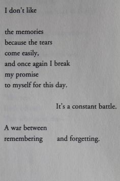 A war between remembering and forgetting