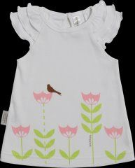 Sooki Baby Sweet Tulips top with bird sitting on tulip.  The top is white with pink tulips. It has three ruffles on each arm with one button on back. It is machine washable and 100% cotton.