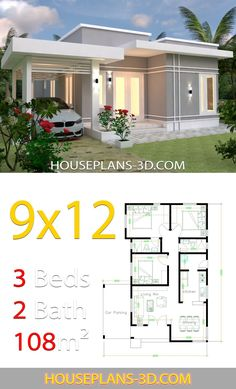 House design Plans with 3 Bedrooms terrace roof - House Plans Modern House Floor Plans, Modern Bungalow House, My House Plans, House Layout Plans, Simple House Plans, Simple House Design, Tiny House Design, House Layouts, Three Bedroom House Plan