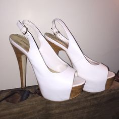 Bebe White Platform Heels Slingback platform peep toe pumps. 5 1/2 inch heel with a 2 inch platform. Love these!! bebe Shoes Platforms