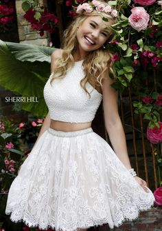 Sherri Hill 32313 Short Dress Beaded Crop Top Lace Skirt Scalloped Hemline - A Line, Two Piece, Halter