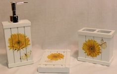 Nice BLONDER HOME SWEET SUNFLOWERS BATHROOM SET SOAP DISH LOTION TOOTHBRUSH  HOLDER