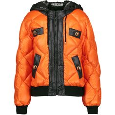 Moschino - Quilted Shell Hooded Coat ($738) ❤ liked on Polyvore featuring outerwear, coats, orange, moschino coat, orange coat, zip coat, moschino and quilted coat