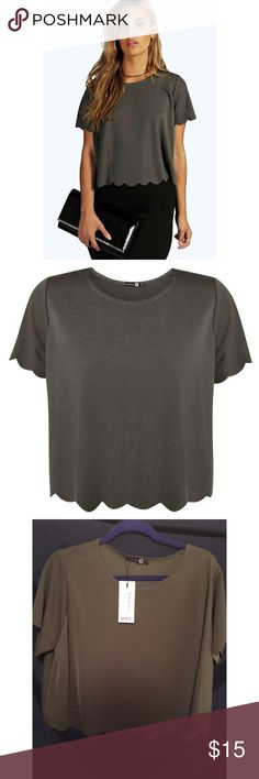 Boohoo Scallop Edge Tee This crop top is super cute! It's a nice olive color, doesn't really show too well in the photos. It's definitely a crop top for someone with a long torso (me!). It's comfortable and I love the material. Never worn, just didn't have anything to go with it. Boohoo Tops Crop Tops