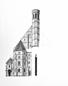 Half way there now! This building was started in the 13th century but has been altered and rebuilt so many times. I really love the mix of textures and styles of architecture combined in this facade.... #Vienna #architecture #drawing #pencil #illustration #sketch #church #austria #travel